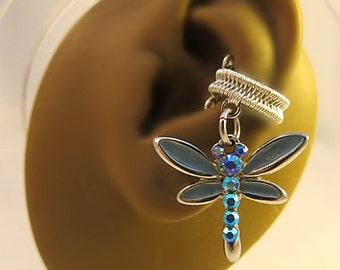Dragonfly Ear Cuff, Dragonfly Earrings, Blue Ear Cuff, Dragonfly Jewelry, Insect Ear Cuff, Insect Earrings, No Piercing Ear Cuff, Gift Ideas