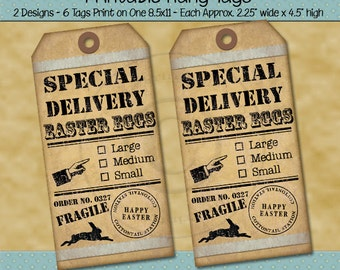 Easter Egg Printable Tags - Special Delivery Easter Egg - Fragile Handle With Care - Shabby Rustic Farmhouse Style - Digital PDF or JPG File