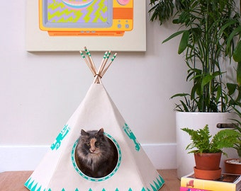NightGlo Cat Teepee w/ bed, Cat House, Cat Bed, Cat Tipi, Pet Teepee