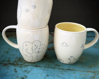 "Farm mug ""pig and hedgehog "" - READY TO SHIP"