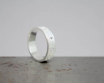 Size 6.5 Textured Silver Womens Ring Band, Ready to Ship Gift for Her