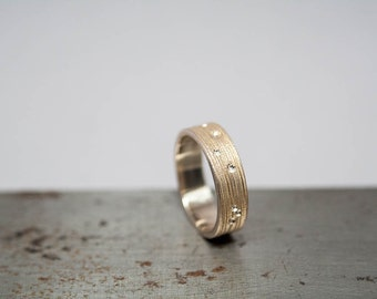 Size 8.5 Textured Womens Bronze Ring Band, Mens Bronze Ring