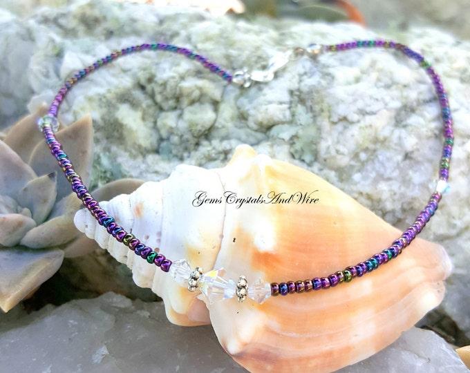 Rainbow Iris Crystal Anklet, Ladies Anklet, Bohemian Anklet, Ankle Bracelet