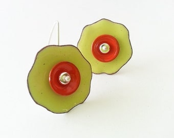 Yellow and Orange Double Poppy Blossom Earrings Enamel with Sterling Silver Wires