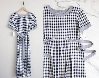 gingham dress / blue plaid dress / long maxi dress