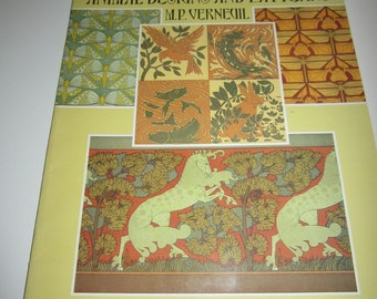Art Nouveau Animal Designs and Patterns by M.P. Vernevil - Softcover book - 60 color plates - Vintage 90's