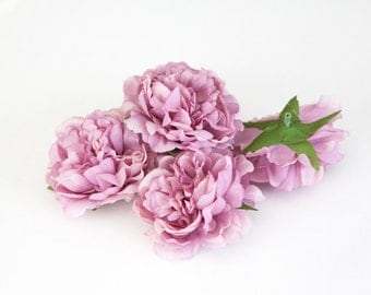 NEW LoWER PRICE! Set of 3 Smaller Cabbage Peonies in Antique Mauve Purple- 3.5 inches - ITEM 0301
