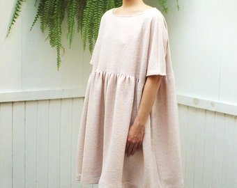 Blush Pink Cecile Dress. Boiled Wool Dress. Fall Fashion. Loose Fit Oversized Dress. Pale Pink Loose Fit Women. Short Sleeves