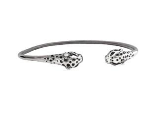 Leopard Bracelet     cuff silver gold sterling cat jewelry