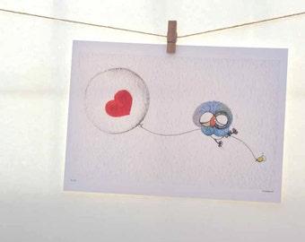 owl art, love balloon, red heart, gift for her, whimsical art, owl gifts, owl nursery, a4 print, beilexian