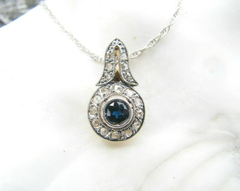 Antique Diamond Sapphire Pendant Necklace, Blue Sapphire with Rose Cut Diamond Halo, Platinum and Gold, Very Elegant, Edwardian to Art Deco