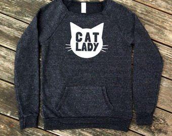 Cat Lady Heather Black Sweatshirt with White print - Gift for Her, Cat Mom, Cat Lover, Animal Lover, Kitty Fan, Meow, Cat Crazy