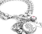 Silver Inspirational Jewelry, Jewelry for Mom, Silver Charm Bracelet, My Mom My Best Friend