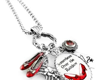 Red Slippers, Wizard of OZ Necklace, Red Shoes, OZ Shoes, Ruby Red Slippers Jewelry, Wizard of OZ