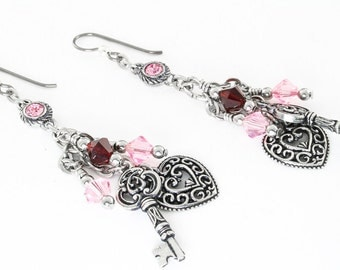 Heart Silver Charm Earrings with Crystals, Heart Earrings, Pink and Red Crystal Earrings, Dangle Earring, Valentines Day Earrings