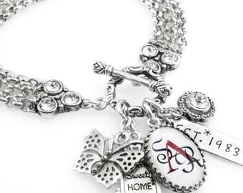 Customized Monogram Jewelry, Customized Monogram Bracelet, Personalized Charm Bracelet, Monogram Jewelry, Personalized Bracelet