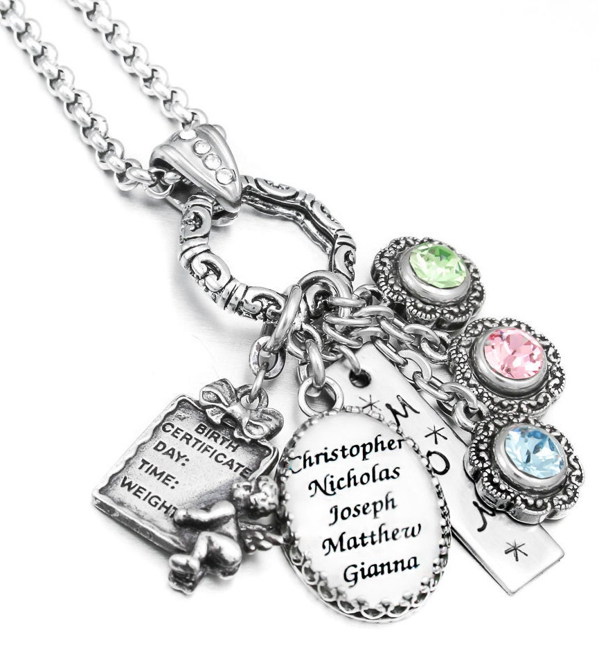 personalized birthstone necklace custom name jewelry. Black Bedroom Furniture Sets. Home Design Ideas