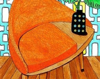 Orange Telephone Table: A4 Reproduction