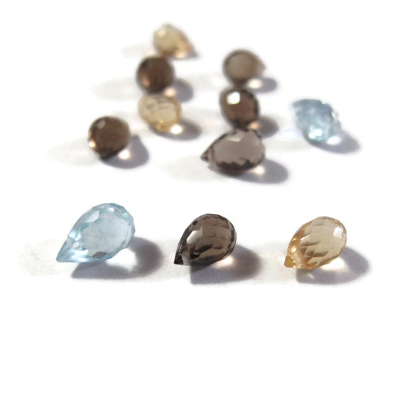 Mixed Briolette Lot, Little Lot of 11 Natural Citrine, Smoky Quartz & Blue Topaz Beads for Jewelry Making, 7x5mm Gemstones (L-Mix5)