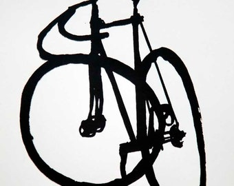 Classic Track  Bike- Fixie- Mock Brush Ink Drawing - Bicycle Art Print - Bicycle Art Print- Bike Wall Art - Bicycle Painting - Cycling Decor