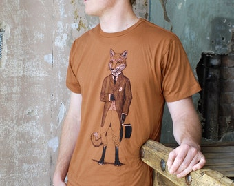 Fox Shirt - Men's Shirt - Gift for Men - Animal Lover Gift - Fox Art - Graphic Tee - Tshirt - Animal in Suit
