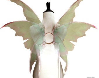 Chastity No.12 - Medium Fairy Wings in Pale Green and Pink - Convertable Strappless