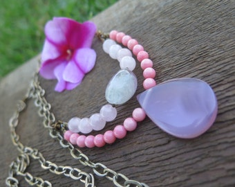 Long Boho Pastel Beaded Gemstone Necklace - Pink Coral Rose Quartz Fluorite - Double Strand Multi Brass Chain - Summer Daze - Hippy Jewelry