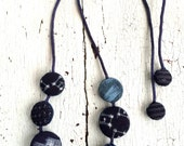 Indigo Kasuri Textile Fabric Dot Necklace
