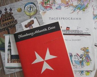 1960 Hamburg-Atlantic TS Hanseatic Menu, 2 Daily Programs and Passenger List