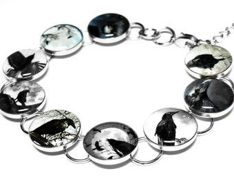 Raven Bracelet, Crow Bracelet, Black, Birds, Edgar Allan Poe, Resin Jewelry, Dangle Earrings, Halloween, Poe, Goth Jewelry, Bird, Black Crow