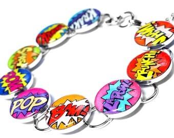 Superhero Jewelry, Comic Book Bracelet, Super Hero Shout Outs, Retro, Resin Bracelet, Pink, Purple, Yellow, Orange, Blue, Green, Handmade