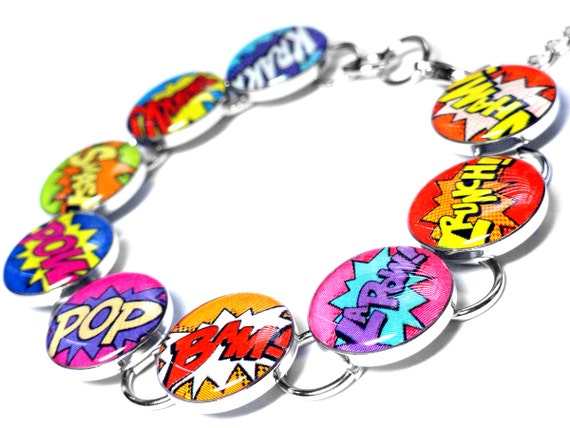 Comic Book Bracelet, Superhero Jewelry, Super Hero Shout Outs, Retro, Resin Bracelet, Pink, Purple, Yellow, Orange, Blue, Green, Handmade