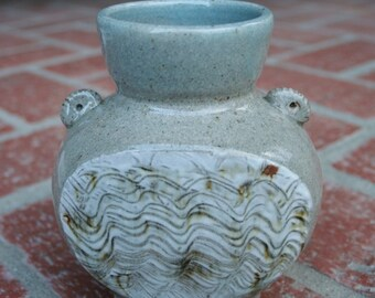 Stoneware Vase with Porcelain Hakeme Slip Decoration OOAK