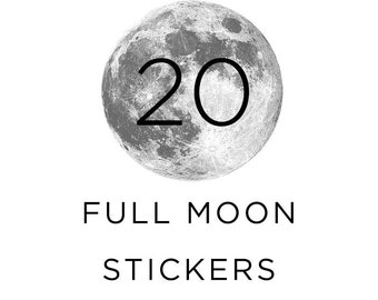 Full Moon Stickers, Silver moon, Pack of 20, For Stationary