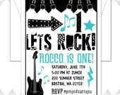 Custom Order 40 Rockstar Invites, Rocker Birthday, Rocker Party, First Birthday Invite, Musical Party Invite, Guitar Invite, Modern Rockstar
