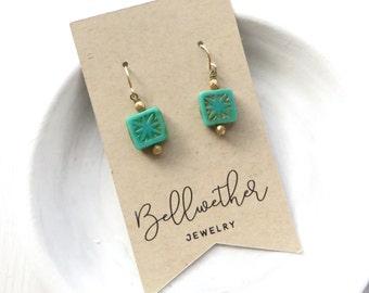 Turquoise Earrings / Small Earrings / Simple Earrings / Dainty Earrings / Stocking Stuffer / Holiday Gift for Her / Gift Under 15 / Handmade