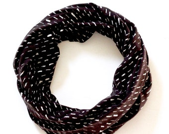 READY TO SHIP Infinity Scarf - Organic Jersey - Black with White Dash Pattern - Knit Fabric - Stretchy - Scarf