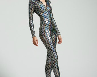 Silver Mermaid Holographic Bodysuit- Free Shipping