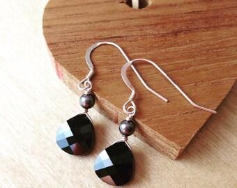 Earrings - Swarovski Crystal JET BLACK Tear Drops