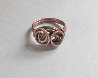 Antiqued Copper Wire Ring - 18 Gauge Rustic Wire Ring - 515011