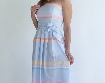 Vintage Pastel Striped Strapless Sun Dress (Size Medium)