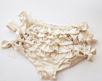 As seen in W Magazine! Sasha ruffled panties - side tie silk lingerie panty with ruffles, frills in satin charmeuse, luxury frilly knickers
