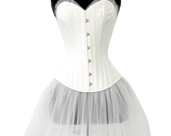 Pascaline silk and tulle corset- ivory overbust corset with sheer ruffles, bridal wedding corsets, steel-boned corsetry trousseau cincher