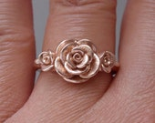 RESERVED for R | Roses in Rose Gold | Handsculpted, Cast in Solid 14K Rose Gold (Size 5.75 to 6) | SAMPLE SALE