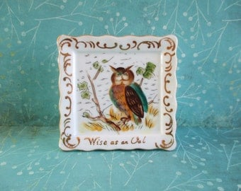 Vintage Ceramic Wise as an Owl Wall Pocket
