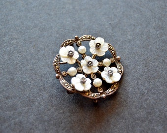 Sterling Silver Marcasite and Mother Pearl Brooch Pendant {Bridal Jewelry Vintage Pin 925 Birthday Anniversary Christmas Gift for Her}