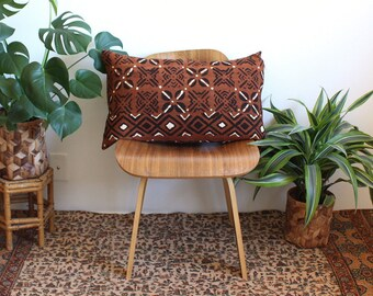 Rust Brown Mudcloth Lumbar Pillow, African Mud Cloth, Boho Earthtone Pillow, Modern Pillow, Linen Lumbar, 15x25, Bohemian Decor, Geometric
