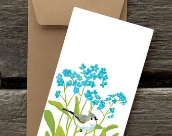 Forget-me-nots and Titmice -- 8 blank flat cards and envelopes