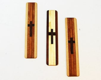 Cross Bookmarks Made Of  Exotic Woods Set Of Three