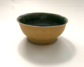 Wheel Thrown Porcelain Gold and Green Glazed Bowl, Studio Pottery by Bryan Northup